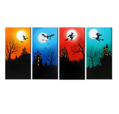 Original Large Modern Halloween Art Abstract Oil Painting Wall Home Decor Canvas