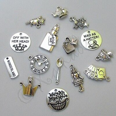 Alice In Wonderland Pendant Charms 15PCs Mix CM1866 - 15, 30, 45 Or 60PCs
