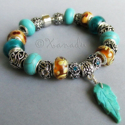 Turquoise, Amber Brown Glass And Silver Enchanted Forest European Charm Bracelet