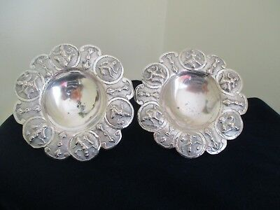 Two Antique Silver Hand Crafted  Artisan Small Bon Bon Dishes Bowls FREEPOST
