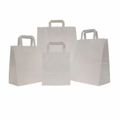 1000 White Large SOS Takeaway Kraft Paper Carrier Bag with Flat Handle Cheapest