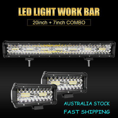 20inch+7in CREE LED Light Bar Spot Flood Triple Row Driving Lamp Offroad 4WD SUV