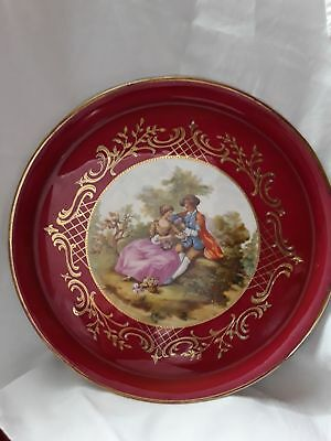 plat a tarte limoges porcelaine d'art decor or main
