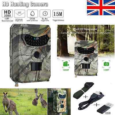 WATERPROOF 12MP Hunting Camera 1080P Trail Scouting IR Night Vision Wildlife Cam
