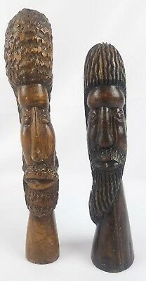 2 Unique Hand Carved Bearded TRIBAL Warrior Wooden Statue Head - African Art