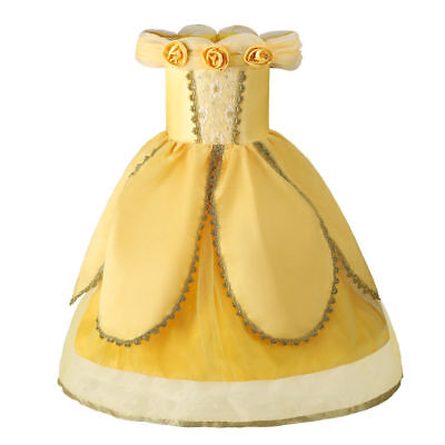 Girls Belle Princess Costume Beauty and The Breast Halloween Fancy Party Dress
