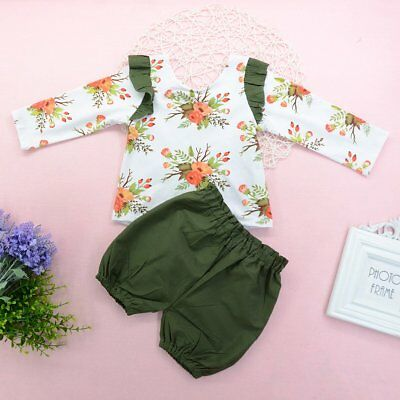 Toddler Kids Baby Girls Summer Outfit Clothes T-shirt Tops+Pants Shorts 2PCS Set
