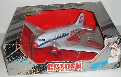 NEW, PEPSI PEPSI-COLA DC3 PROPELLER AIRPLANE BANK,, w/ STAND, DIE-CAST, 1960'S