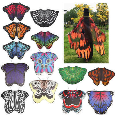 AU Fabric Soft Butterfly Wings Shawl Fairy Fancy Dress Costume Accessory Adults