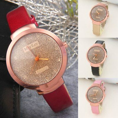 Fashion Women Leather Band Casual Watch Luxury Analog Quartz Crystal Wristwatch