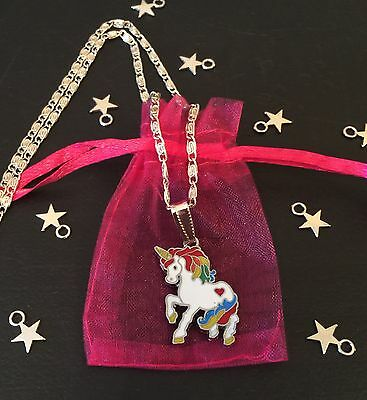 WHITE UNICORN RAINBOW Pendant CHARM Girls Silver Plated Necklace Free Gift Bag