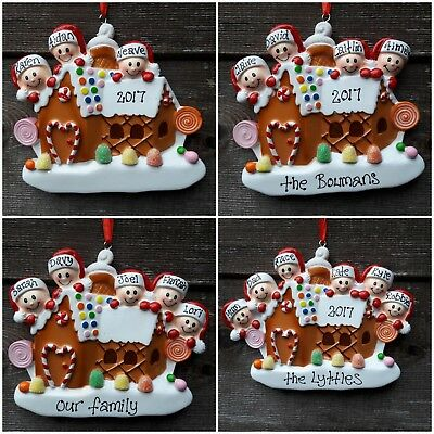 Beautiful Personalised Gingerbread Family Tree Christmas Decorations 2-6 People