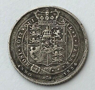 Dated : 1824 - Silver Coin - Sixpence - 6d - King George IIII - Great Britain