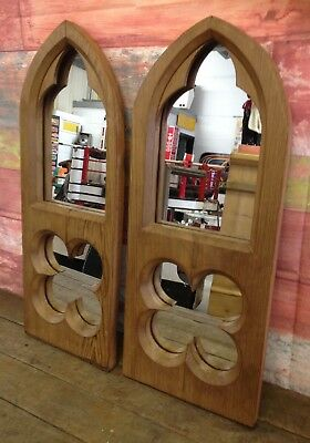Vintage pine wooden window church wood mirror, 2 available