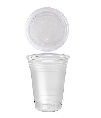 A World Of Deals 100 Sets 16 oz. Plastic CLEAR Cups with Flat Lids for Iced