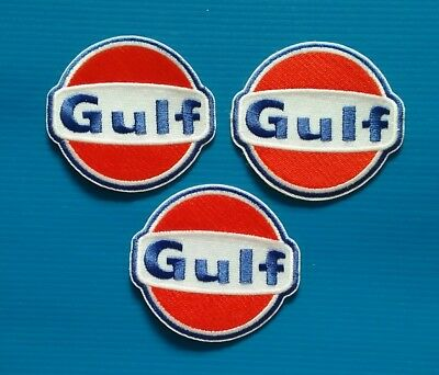 3 LOT GULF GAS/OIL  Embrodered Iron Or Sewn On UNIFORM  Patches Free Ship