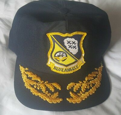 326affc812e Vintage BLUE ANGELS 80s Hat Cap Snapback NEW ERA US Navy Squadron Gold Leaf  Eggs