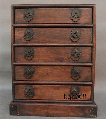 "12"" China old Yellow Huali Wood Hand Carved Drawer Pagoda Storage Box Statue"