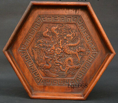 "12"" China old Huang Huali Wood Dragon Phoenix Tea Tray Pallet plate Statue"