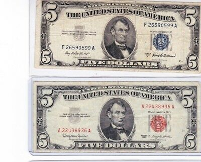 1963 $5 red seal Note & 1953 $5 silver certificate & $10 face 90 % silver