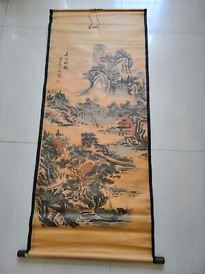 Rare antique chinese museum painting scroll Landscape painting third