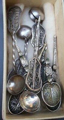 Tiffany Co Box With Antique 800 Silver Demitasse & Filigree Salt Spoons