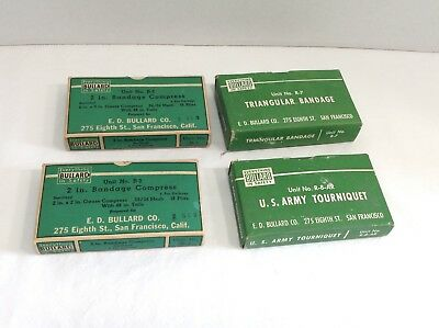 Vintage Set of 4 Bullard Army First Aid Kit items Tourniquet,bandages & Compress