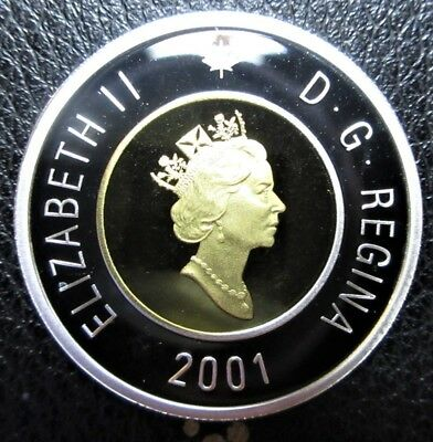 2001 Canada $2 Toonie Silver Proof with 24k Gold Plated Core - Uncirculated