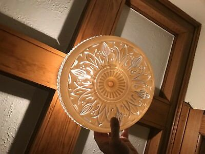 Antique Glass Ceiling Light Shade Center Hole Mount Art Nuoveau Hand Cut Design