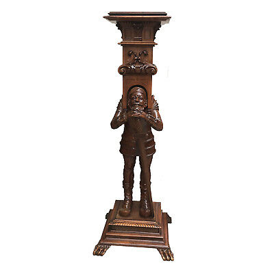 Amazing Antique French Jester Pedestal/Stand, Walnut, 19th Century, Tall at 47""