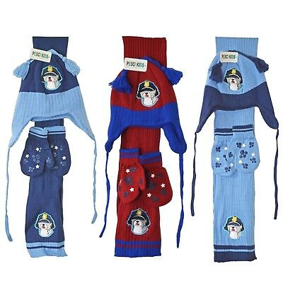 Baby Hat Scarf And Glove Mittens Set Police Dog Beanie Chin Tie Boy Girl 1-2 Yrs
