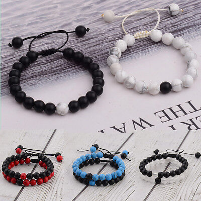 2Pcs His & Hers Distance Weave Women Men Natural Stone Couple Bracelets Gift