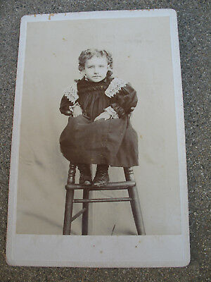 Antique Cabinet Card Photo Child Little Girl Crochet Lace Collar Cuff High Chair