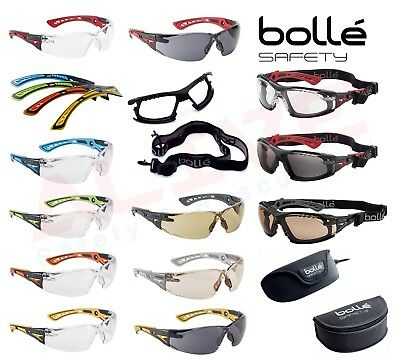 Bolle RUSH+ Coloured Temples Safety Glasses, Foam+ Strap Kit, Glasses Case