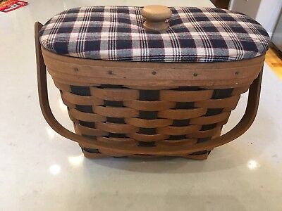 Longaberger 1989 Wide Blue Accent Weave Basket, Protector And Lid