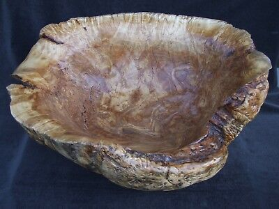 "HUGE HAND CARVED YELLOW BIRCH WOOD BURL BOWL by JIM FORBES-  22 & 1/2"" LONG!!!"