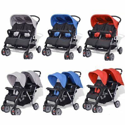 Folding Tandem Pushchair Stroller Double Baby Buggy Twin Pram Toddler Stroller