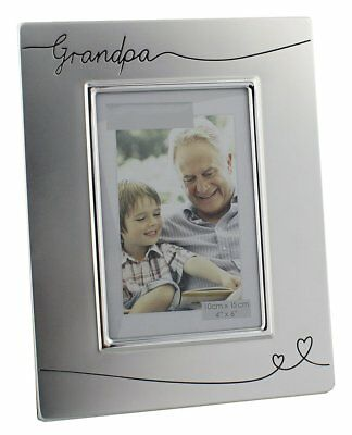 """Two Tone Silver Plated Grandpa 4"""" x 6"""" Photo Frame by Haysom Interiors"""
