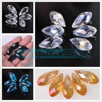 25x12mm Faceted Teardrop Charm Crystal Glass Loose Pendants Beads DIY Crafts