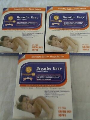 3 Pack Breathe Easy Tan Nasal Strips 30 Pieces each 90 total