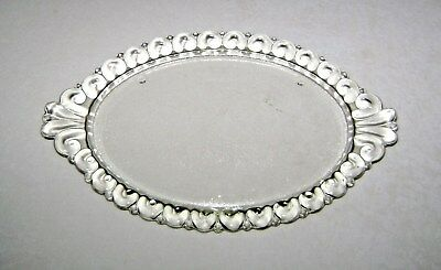 Antique Oval Glass Footed Vanity Tray Scrolled Rim