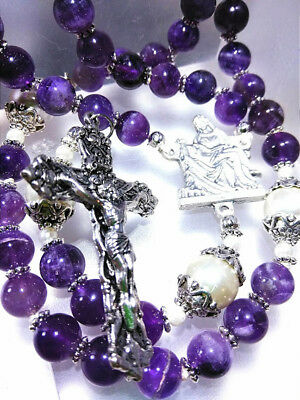 Vintage antique style big genuine amethyst rosary White pearl Religious beads