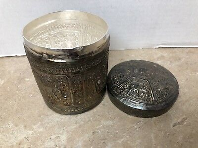 Antique Asian/Indian 9.25 Silver Rare Hand Engraved Hammered Elephant Design CAN