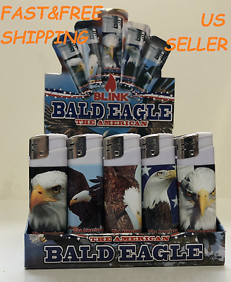Full Size AMERICAN BALD EAGLE Design BLINK Lighters Disposable Cigarette Lighter