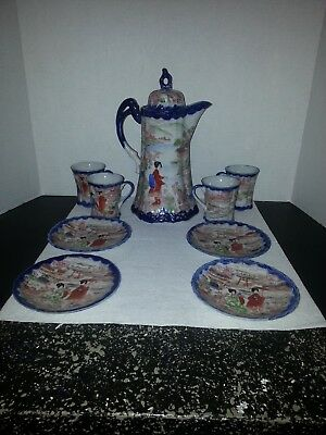 Antique Handpainted Japanese Porcelain Tea Set