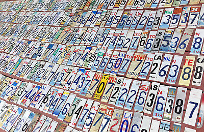 Lot of 250 License Plate Numbers and End Pieces for Crafts/Art Projects