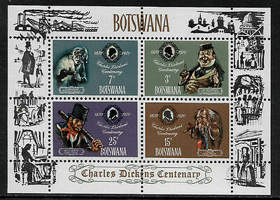 Botswana #65a Mint Never Hinged S/Sheet - Charles Dickens
