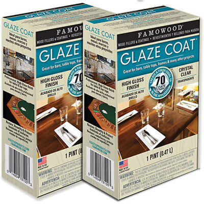 2x FAMOWOOD Glaze Coat Epoxy - Clear 1 Pint (473ml) Kits - Thick Wood Varnish