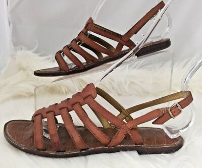 94584dd9c Sam Edelman Garland Brown Leather Strappy Sandal Ankle Closure Size 6.5M