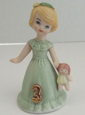 Vintage 1981 Growing Up Birthday Girls Enesco Age 3
